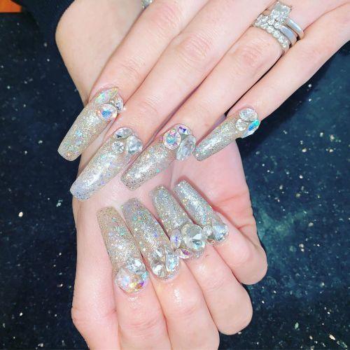 Uñas bling plata