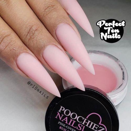 Uñas largas en punta mate rosa claro