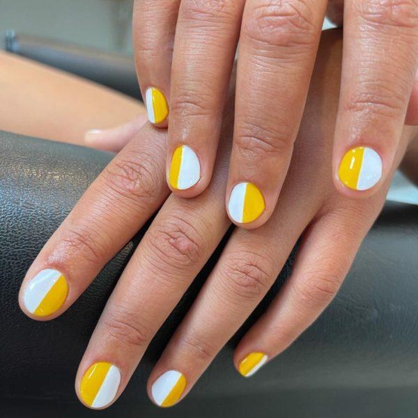 Uñas bicolor amarillo y blanco