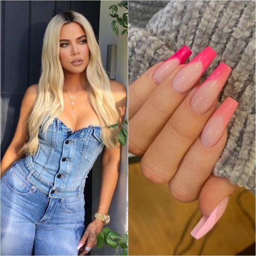 Khloé Kardashian uñas diseño moderado rosa