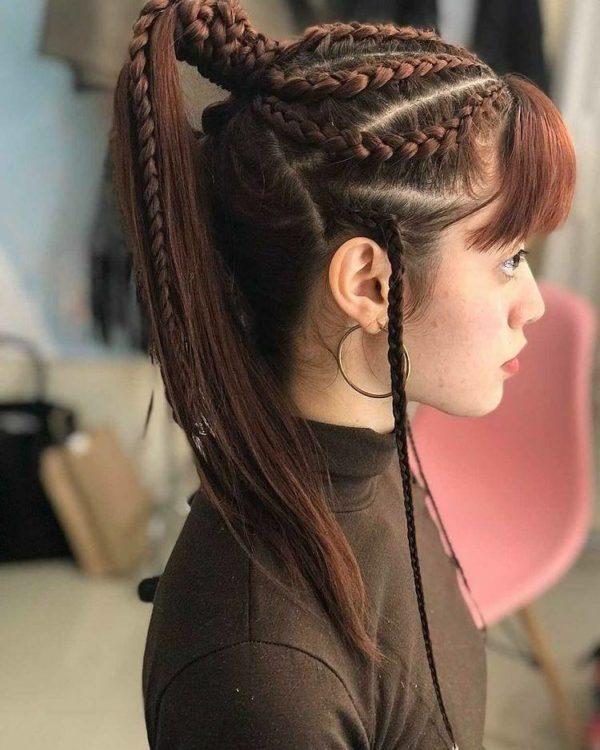 Peinado de combinado coleta y trenzas