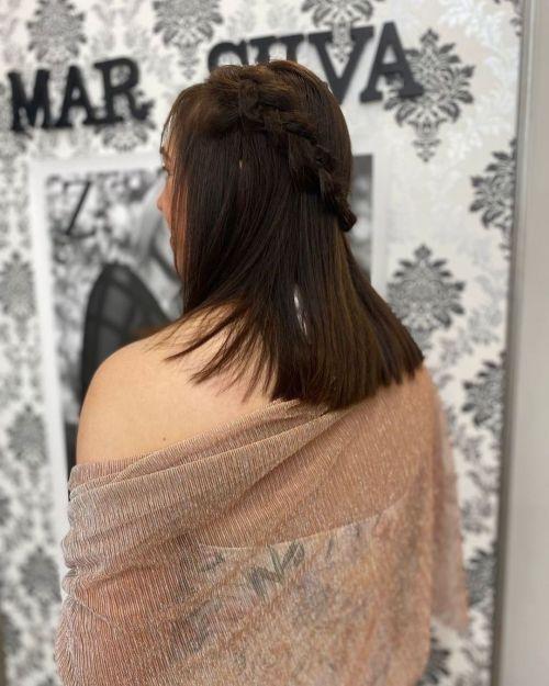 Semi corona de trenza en cabello suelto