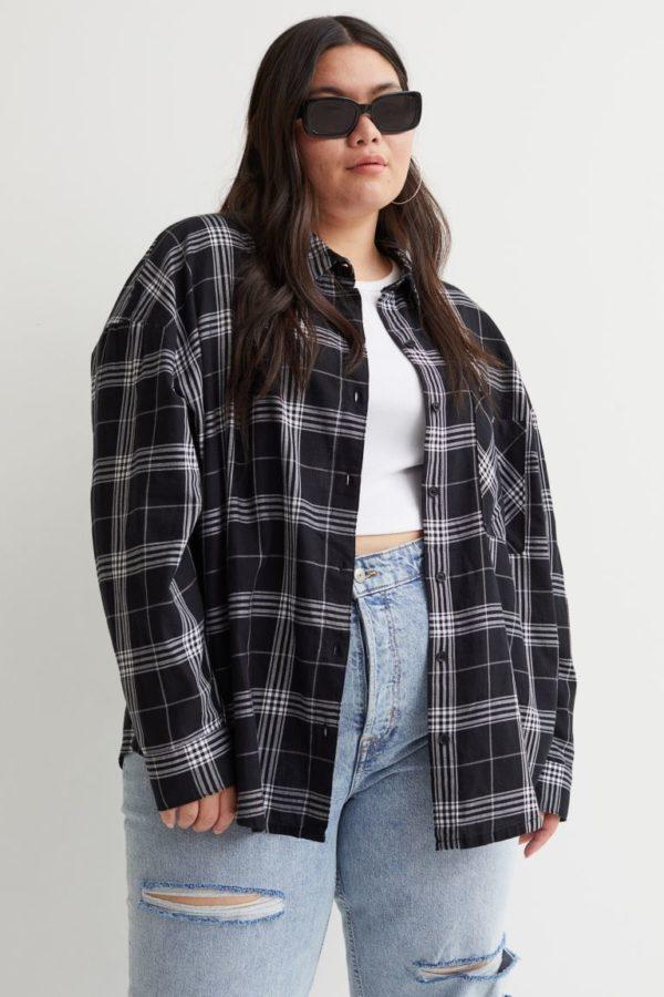 Ropa para gorditas otoño invierno H&M camisa cuadros