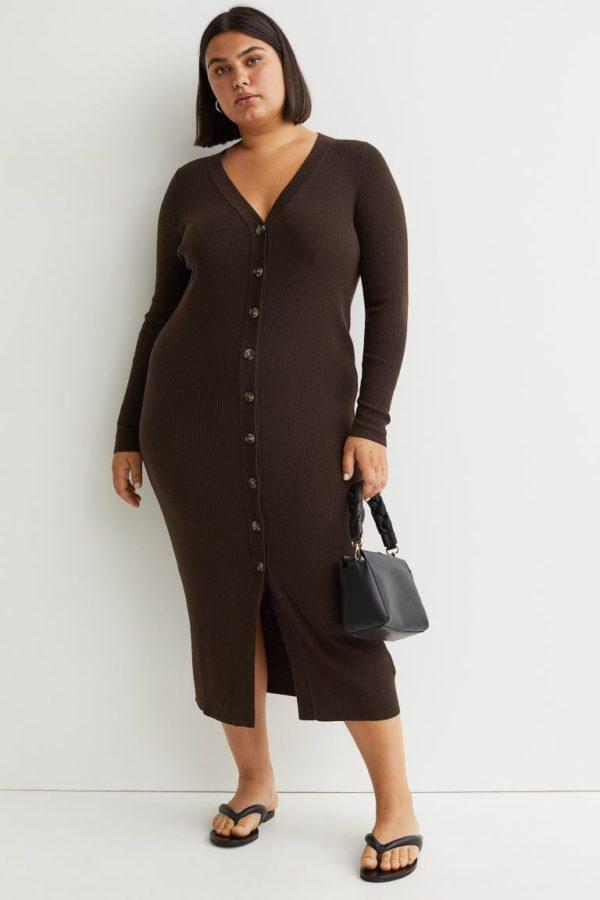 Ropa para gorditas otoño invierno H&M vestido punto marron