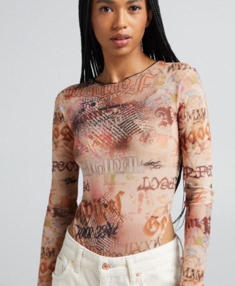 Body tul print Bershka