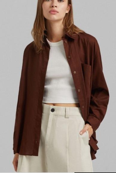 Camisa manga larga oversize con bolsillo de Bershka