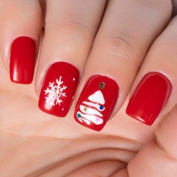 Unas para navidad rojo arbol