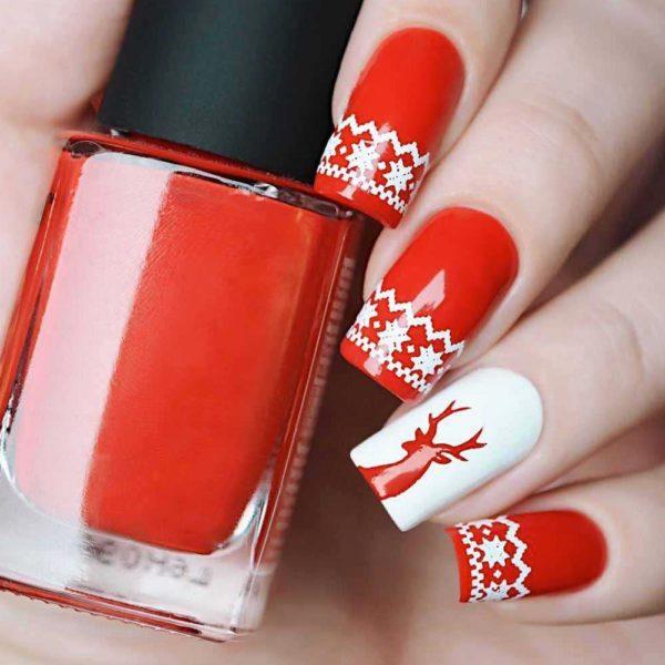 Unas para navidad rojo patrones