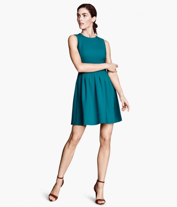 vestidos-cortos-primavera-verano-2014-vestido-corte-ajustado-falda-voleada-h&m