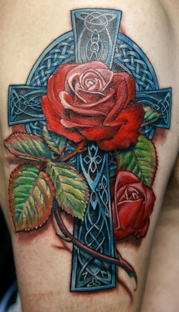 fotos-de-tatuajes-3d-cruz-y-rosas