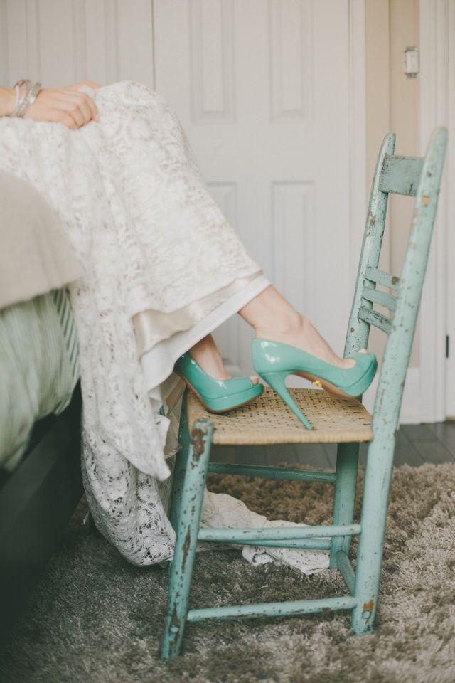 zapatos novia turquesa