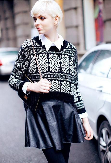 jersey-negro-falda-cuero