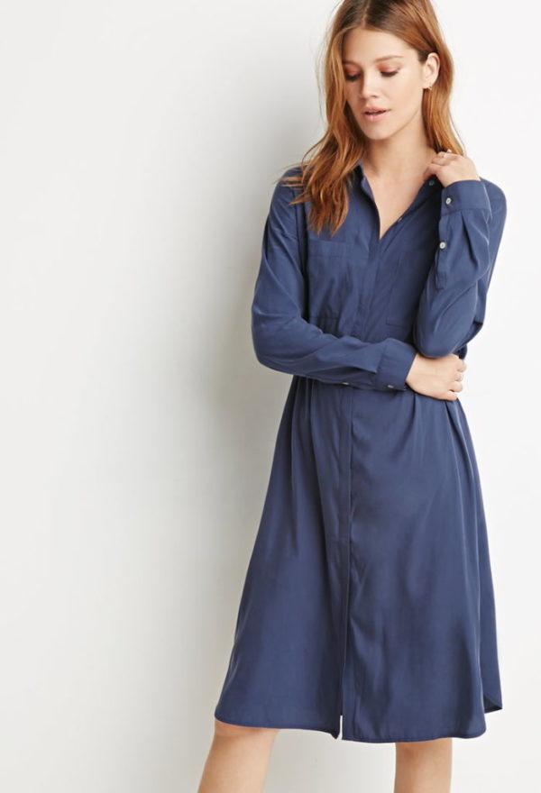 moda-adolescentes-otoño-invierno-2015-2016-vestido-largo-camisero-forever-21
