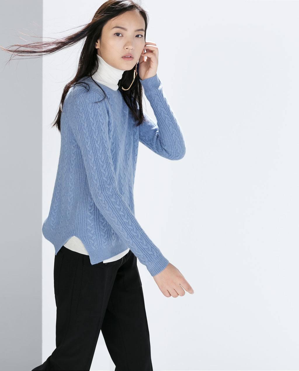catalogo-zara-mujer-otono-invierno-2014-2015-jersey-en-color-azul