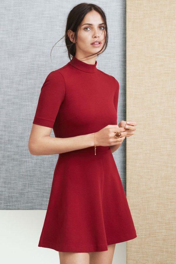 catalogo-hm-otono-invierno-mujer-2015-2016-VESTIDOS-modelo-rojo-años-60