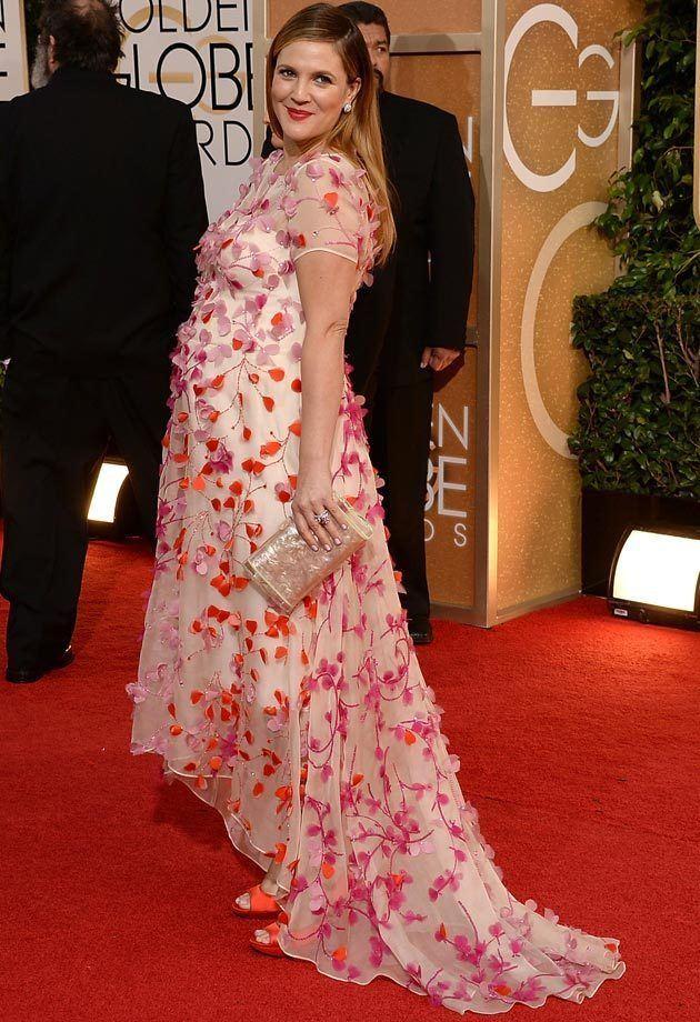 vestidos-de-fiesta-y-noche-de-famosas-embarazadas-verano-2014-drew-barrymore-vestido-de-monique-lhuillier