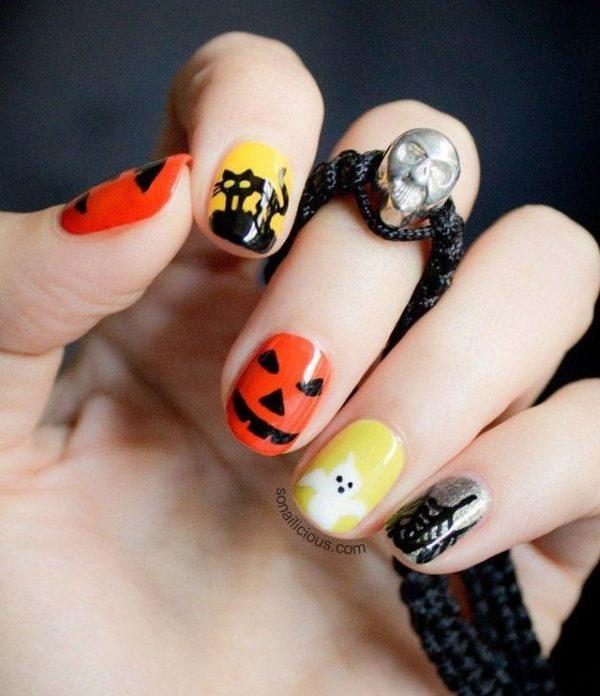 Easy Fall Nail Decoration: + Of 100 PHOTOS Of NAILS HALLOWEEN 2017