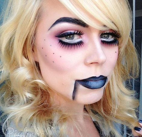 maquillajes de terror para halloween mueca ventrilocua