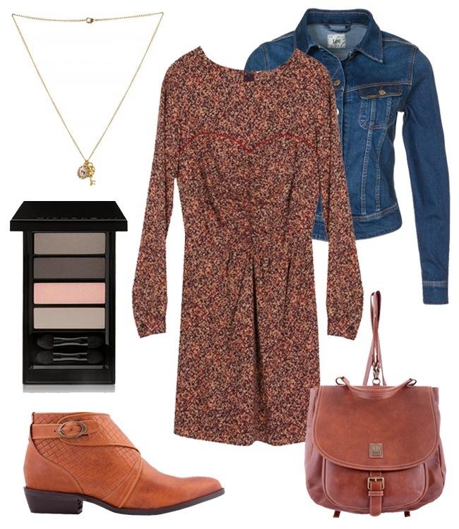 Look casual vestido y complementos piel en marrón