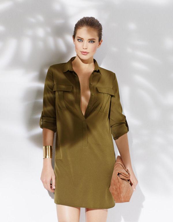 catalogo-blanco-vestidos-de-moda-primavera-verano-2015-vestido-camisero-verde-militar