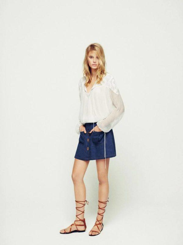 mango-primavera-verano-2015-estilo-retro-blusa-blanca-falda-denim
