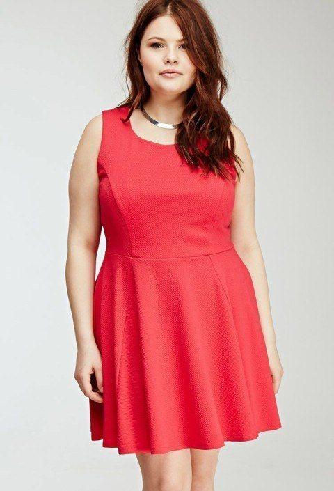 ropa-de-moda-para-gorditas-primavera-verano-2015-vestido-rojo-forever-21