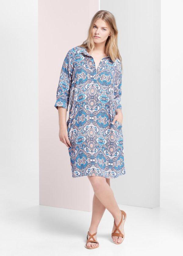 ropa-de-moda-verano-para-gorditas-2015-vestido-camisero-estampado-de-violeta-by-mango