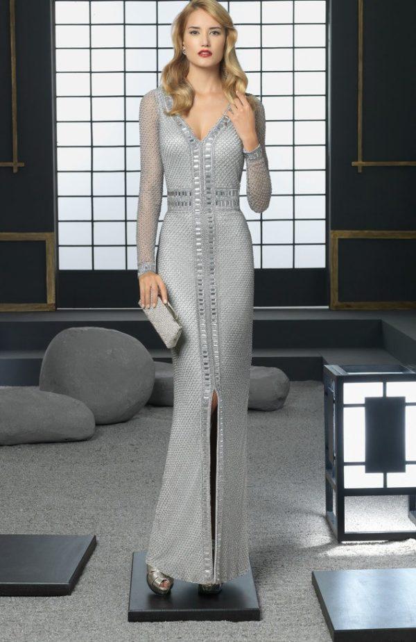 El color en los Vestidos de fiesta Rosa Clara Primavera Verano 2015-2016-vestido-gris