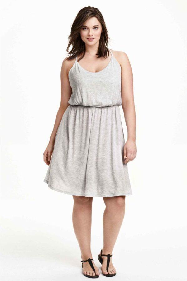 vestidos-para-gorditas-TENDENCIAS-vestido-gris-punto-h&m