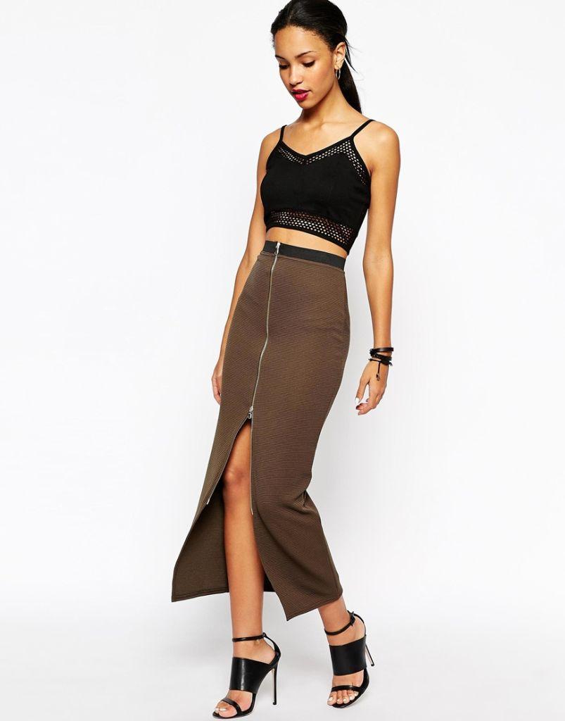 Las faldas largas de moda en otono invierno 2015 2016 falda ajustada cremallera de river island - La moda de otono ...