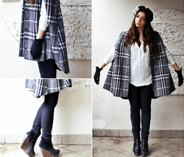 los-ponchos-para-mujer-para-este-otono-invierno-ponchos-a-cuadros-con-guantes