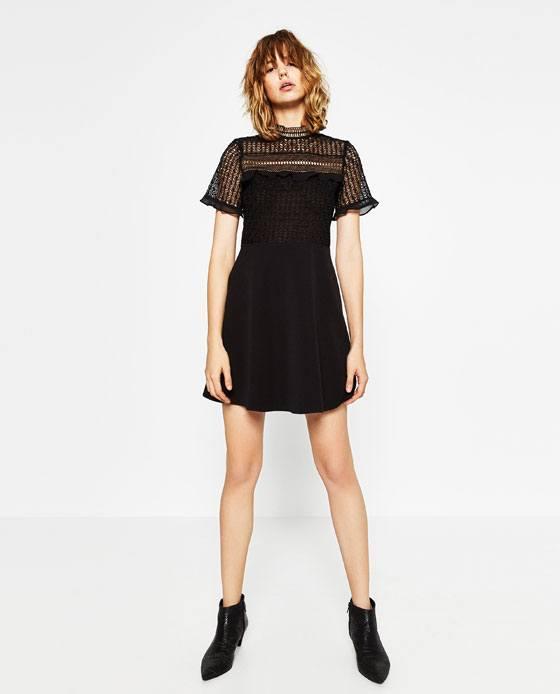 como-vestirse-en-accion-de-gracias-vestido-negro-de-zara
