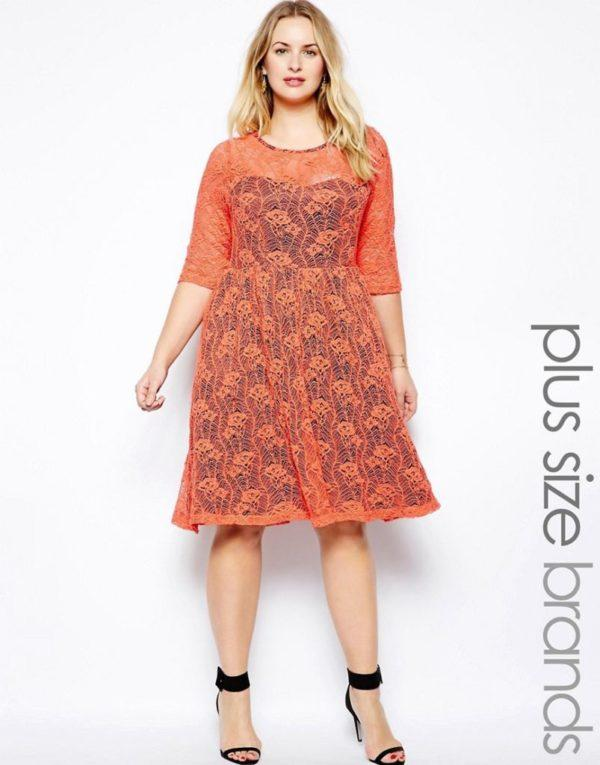 vestidos-de-noche-para-gorditas-con-encaje-naranja