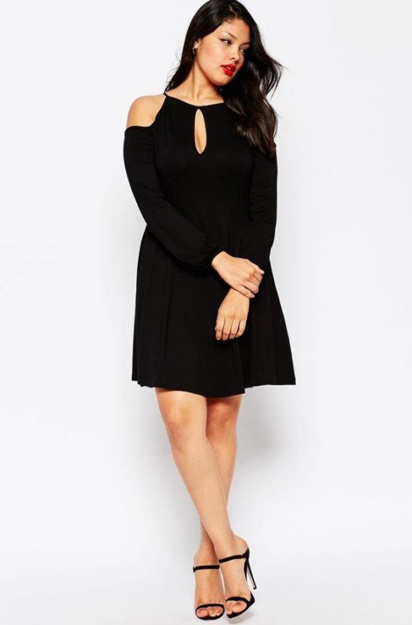 vestidos-de-noche-para-gorditas-negros-escote-bardot