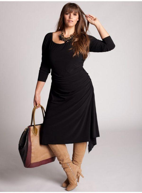 vestidos-de-noche-para-gorditas-negros-manga-larga