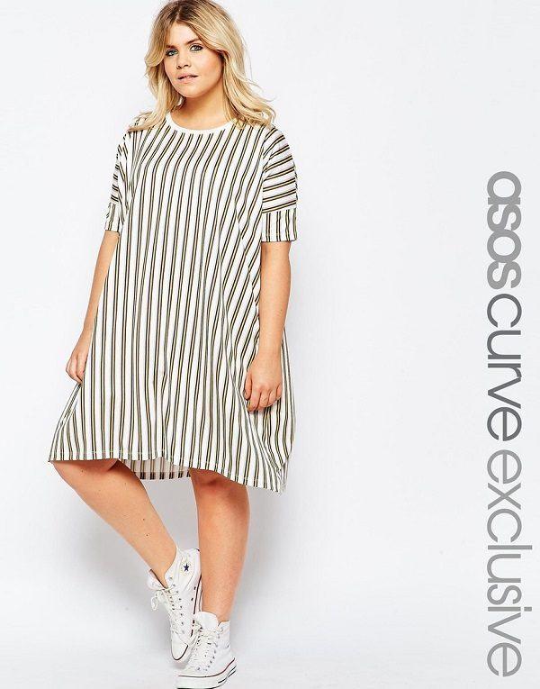 vestidos-para-gorditas-rayas-camisero-marron-blanca