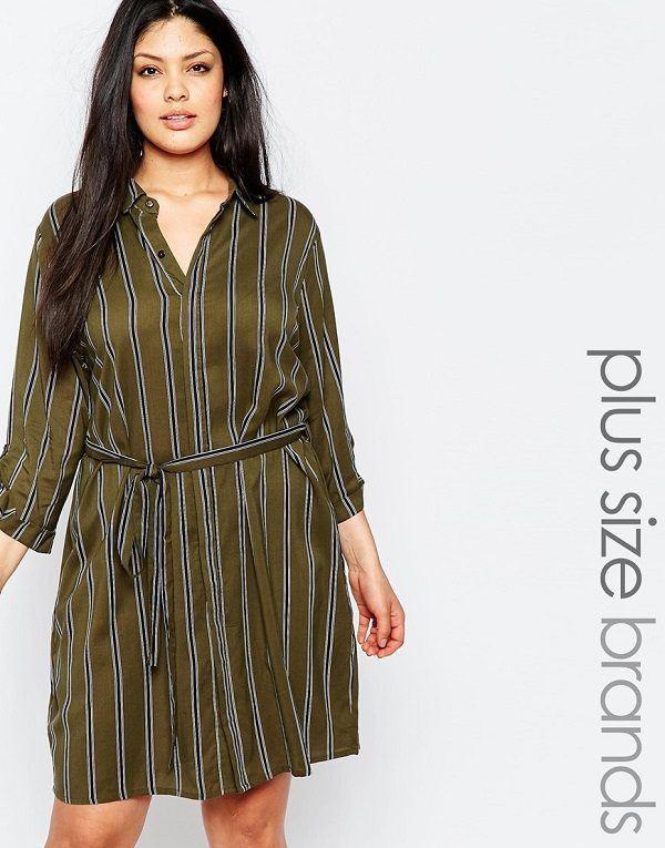 vestidos-para-gorditas-rayas-camisero-verde-oscuro