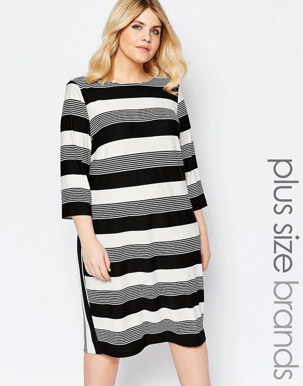 vestidos-para-gorditas-rayas-negras-gris-blanca