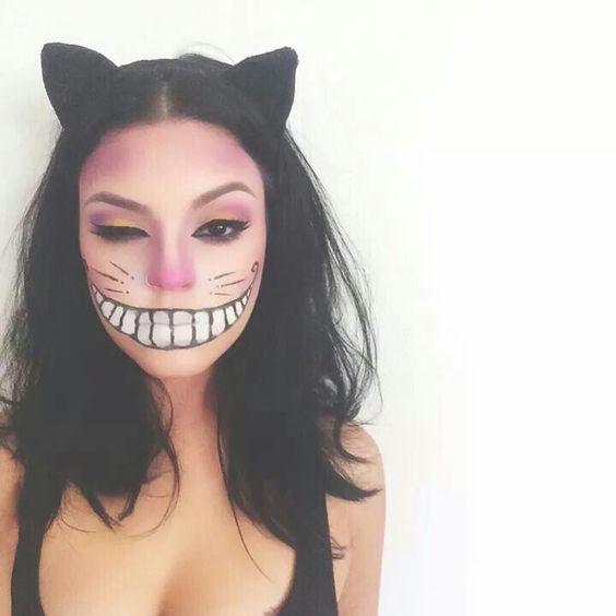 maquillaje-halloween-gato-rosa