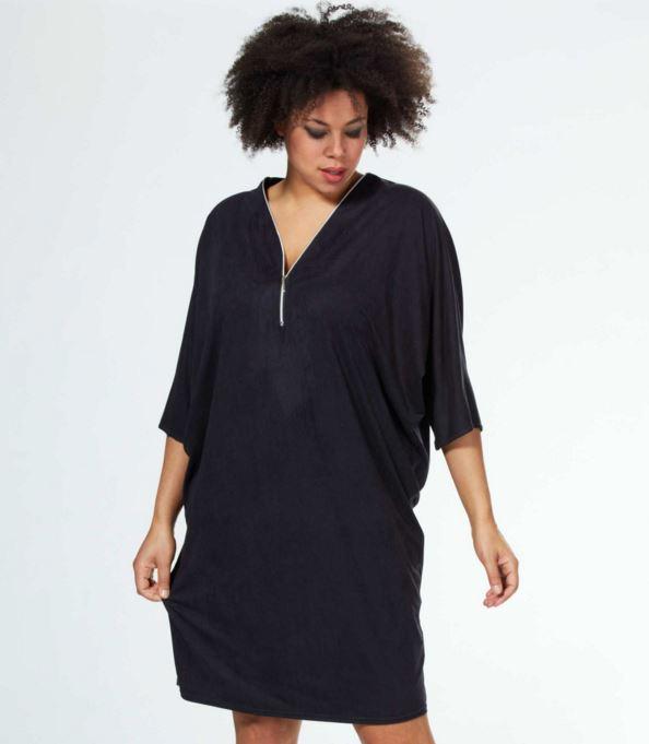 vestidos-para-gorditas-Kiabi-negro-corto-cremallera