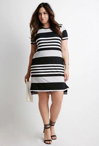vestidos-para-gorditas-rayas-anchas-negras