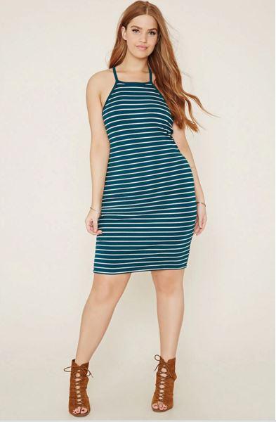 vestidos-para-gorditas-rayas-azules