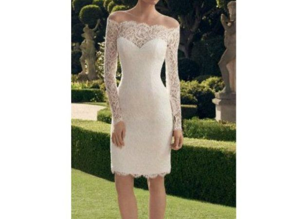 Vestido de novia civil color beige