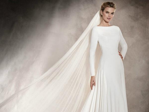 vestidos-de-novia-sencillos-manga-larga-liso-recto