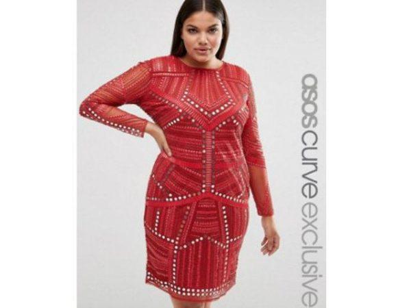 vestidos-de-fiesta-para-gorditas-rojo-manga-larga