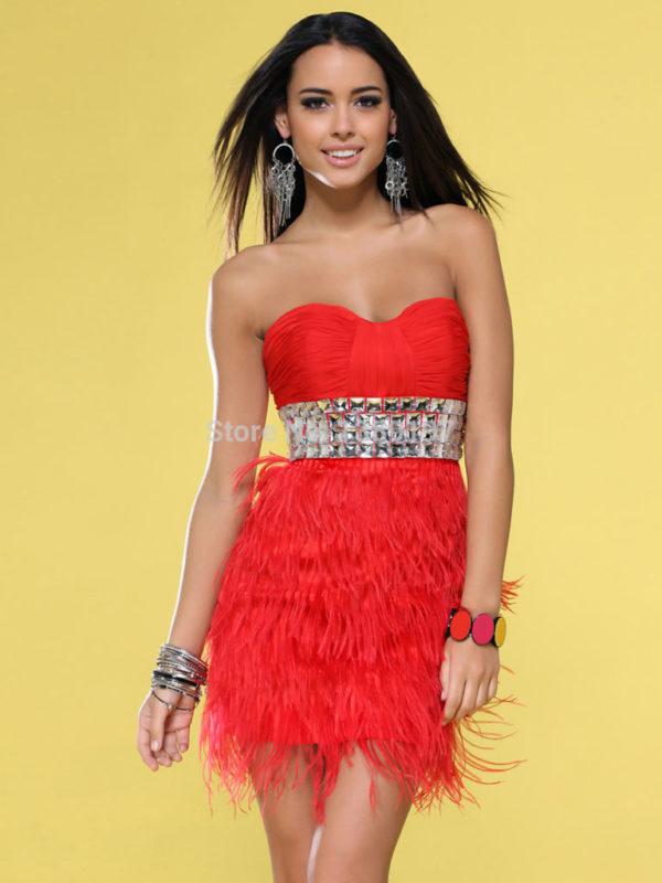 vestidos-de -fiesta-rojos-modaella-corto-plumas-falda