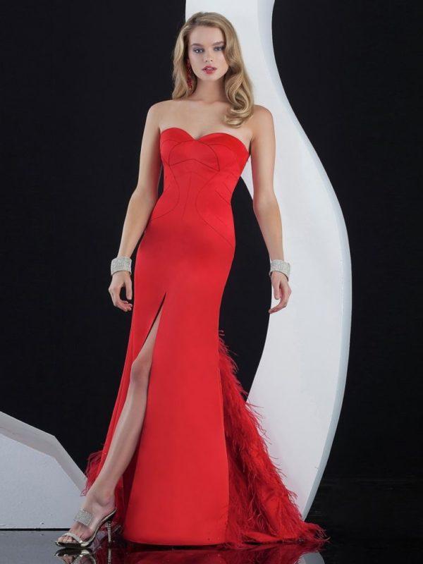 vestidos-de -fiesta-rojos-modaella-plumas-delantera