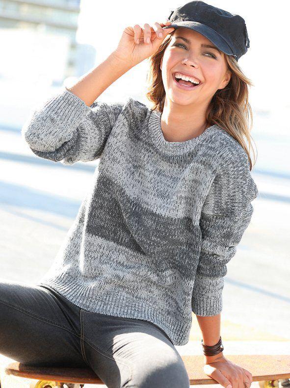 Catálogo-Venca-Otoño-Invierno-2016-2017-jersey-mujer-con-manga-larga-en-punto-tricot-jaspeado-antracita-vigore