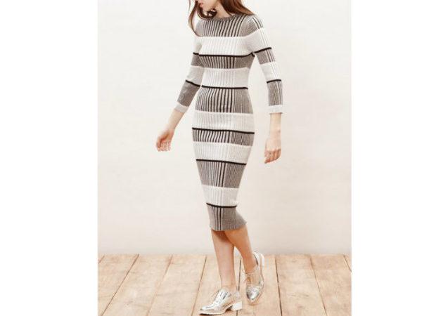 catálogo-stradivarius-vestidos-rayas-negro-y-gris