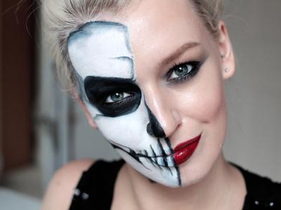Maquillaje halloween media cara: tutorial con el paso a paso